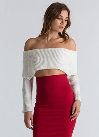 Knit Girl Off-Shoulder Cropped Sweater