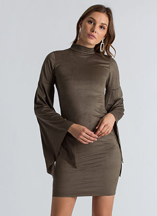 Go To Bat Faux Suede Wing Sleeve Dress