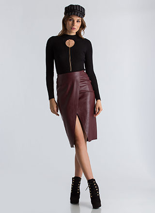 Wrap This Up Faux Leather Pencil Skirt