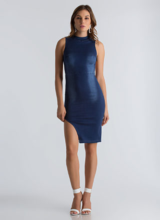 Jean Queen Open-Back Denim Dress
