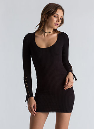 On My Sleeve Lace-Up Ribbed Dress