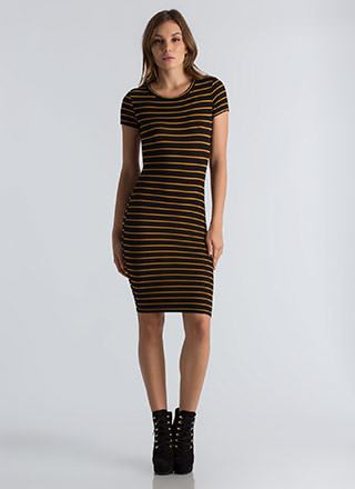 Line Everything Up Striped Midi Dress