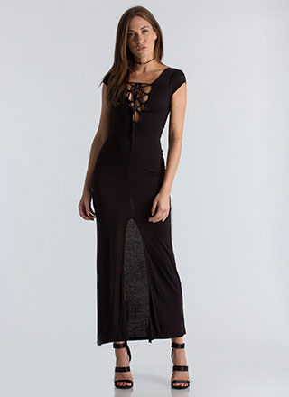 Act Casual Plunging Lace-Up Maxi