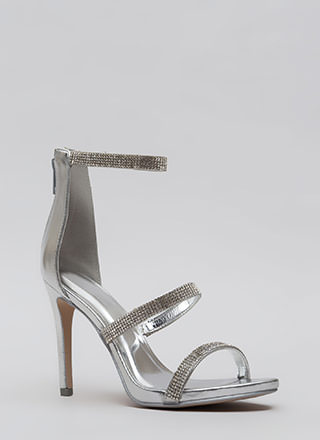 Just Jewels Strappy Metallic Heels