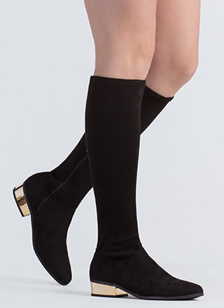 Shiny From The Block Faux Suede Boots