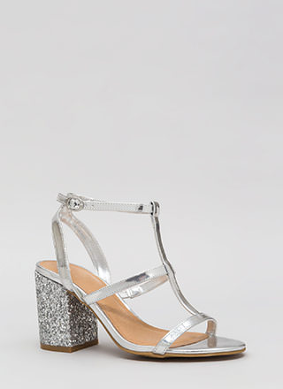 Go For The Glitter Strappy Block Heels