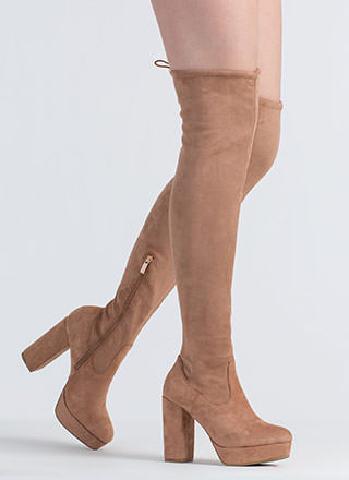 Up And At 'Em Thigh-High Platform Boots