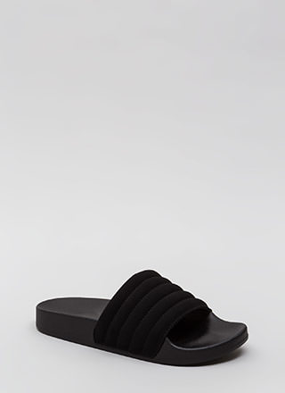Stitch Please Faux Nubuck Slide Sandals