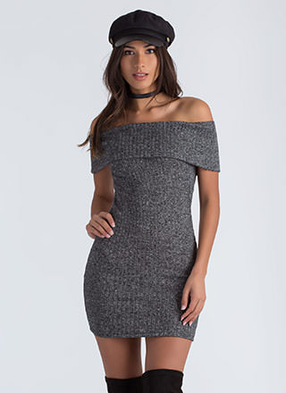 Fold Up Off-Shoulder Sweater Dress