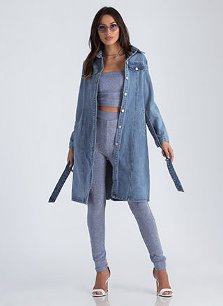 Jean Queen Belted Denim Trench Coat