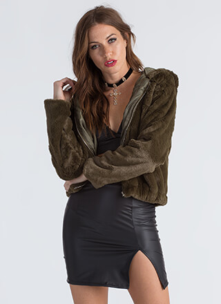 Going Soft Hooded Faux Fur Jacket
