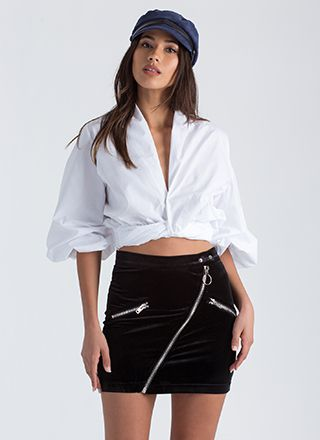 So Twisted Cropped Puff Sleeve Blouse