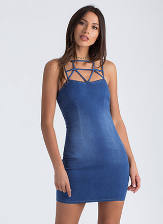 Put In A Caged Strappy Denim Dress