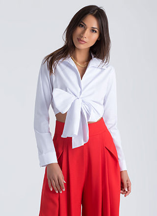 Business Or Pleasure Tied Cropped Blouse