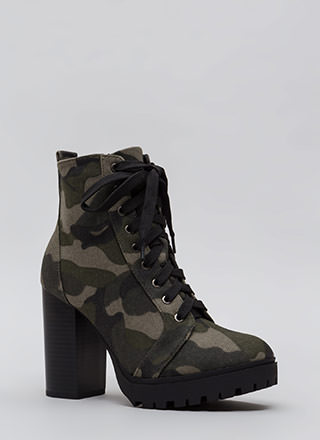 Street Chic Camo Block Heel Booties