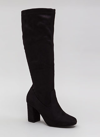 Easy A Chunky Faux Suede Boots