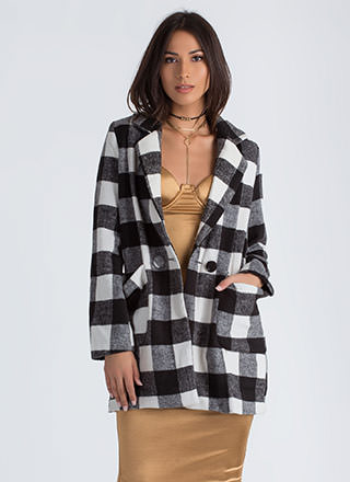 Coat Check Buffalo Plaid Peacoat