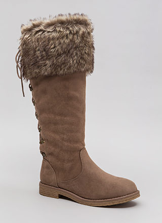 Cuff Customer Faux Fur Lace-Back Boots
