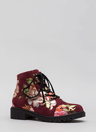Short Supply Floral Combat Boots
