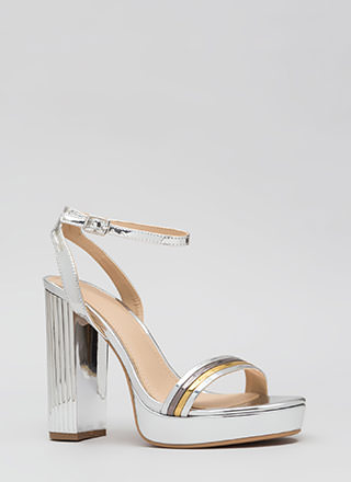 Pillar Heels Shiny Strappy Platforms