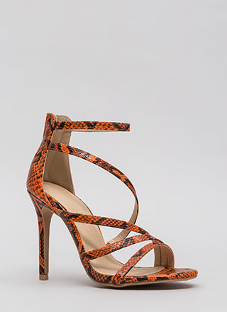 Let's Snake On It Strappy Scaled Heels