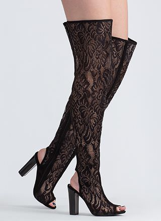 In The Spotlight Lace Thigh-High Boots