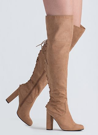 Living Legend Lace-Back Thigh-High Boots
