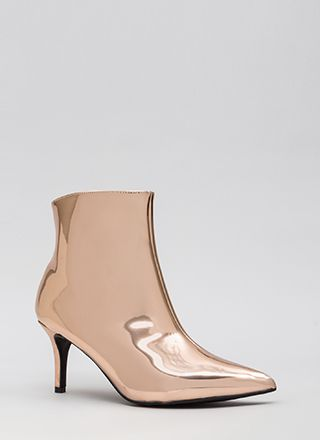 I'll Prevail Pointy Metallic Booties