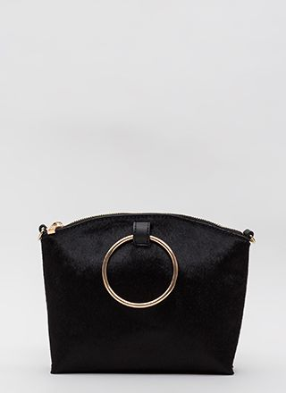 Gimme A Ring Faux Pony Handbag