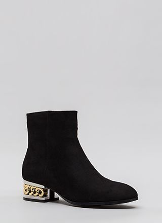 Aboard The Hype Chain Faux Suede Booties