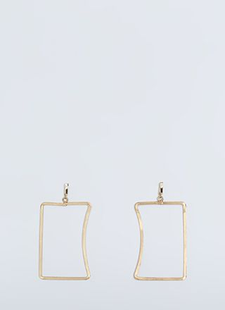 Caved In Cut-Out Rectangle Earrings