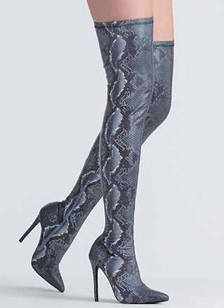 You Little Snake Pointy Thigh-High Boots