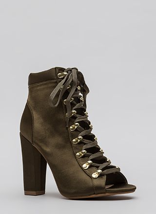 Seriously Satin Chunky Lace-Up Booties