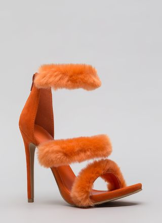 Fur Your Consideration Strappy Heels