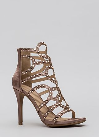 Studs And Satin Strappy Caged Heels