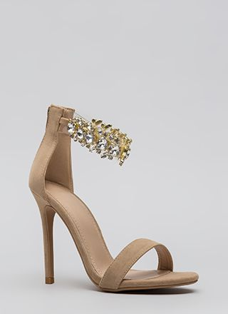 Clearly Jewels Faux Suede Illusion Heels