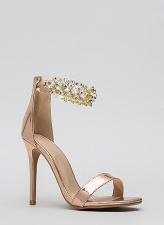 Clearly Jewels Metallic Illusion Heels