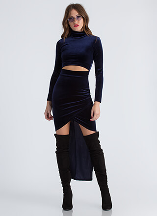 Lesson In Velvet High-Low Cut-Out Dress