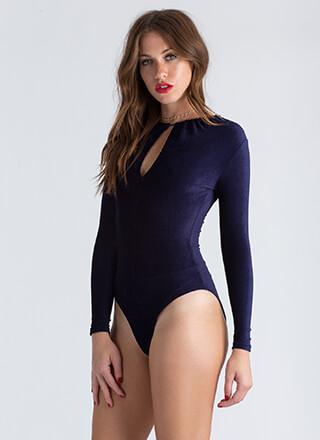 Keyhole To Success Velvet Bodysuit