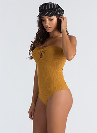 Bow Out Tonight Strapless Thong Bodysuit