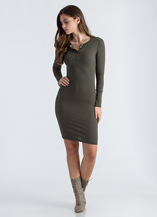 Snap Judgment Buttoned Rib Knit Dress