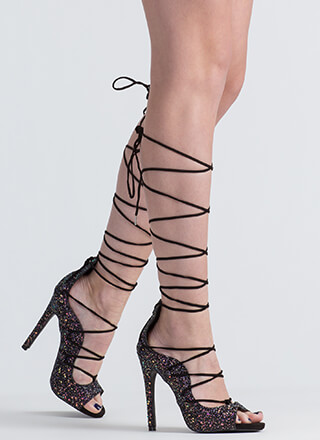Waves Of Great Glittery Lace-Up Heels
