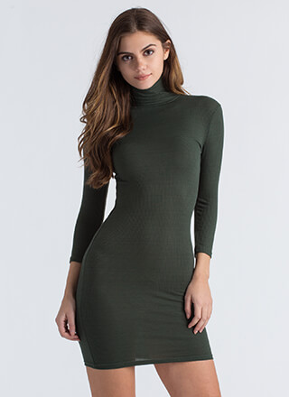 High On The List Ribbed Turtleneck Dress