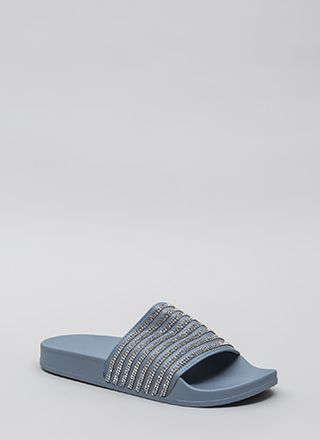 Striped Right Rhinestone Slide Sandals