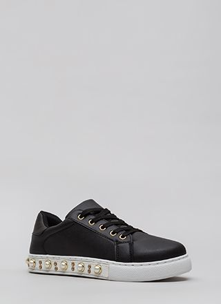 Studs And Pearls Faux Leather Sneakers