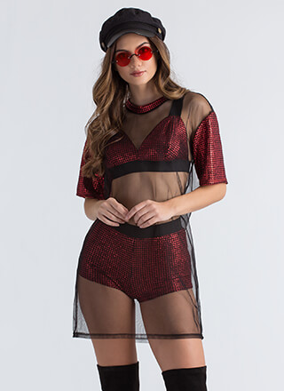Party Of Three Mesh Houndstooth Set