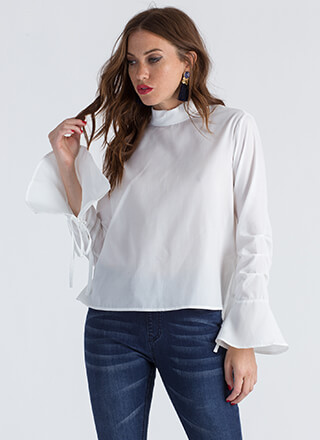 Ring My Bell-Sleeve Flared Blouse