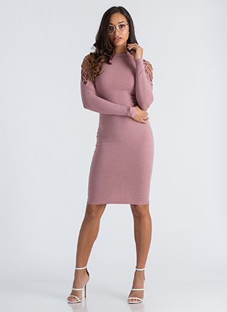 Laced First Ribbed Cold-Shoulder Dress