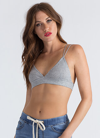 Bringing Strappy Back Rib Knit Bralette