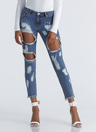 Square Off Destroyed Boyfriend Jeans